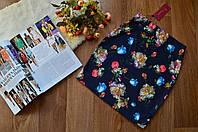 Стильная женская юбка мини принт ГОЛУБЫЕ розы
