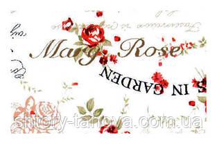 Ткань для штор винтажная с надписями и розами Турция ширина 180 см  ткани с тефлоновой пропиткой