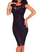 MD-61093 Кружевное черное вечернее коктейльное платье до колен