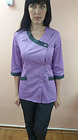 Коттоновый медицинский костюм на пуговицах Китай