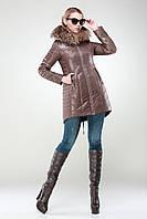Куртка зима женская с мехом чернобурки искусственным или без меха 42-50