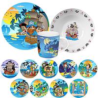 Набор детский 3пр. тарелка-19см, чашка-250мл, салатник-600мл Пираты ST 5135