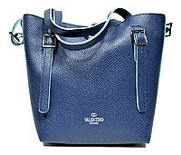 Женская сумка из прессованной кожи синего цвета VALENTINO, фото 1