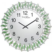 Часы настенные с камнями зелёный металл 40х40 см Your Time 02-224
