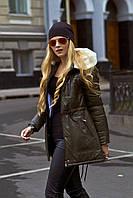 Куртка женская из кожвинила молодежная с искусственным мехом зимняя 42,46-52