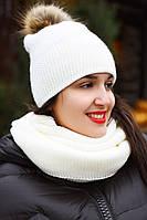 Комплект шапка с помпоном искусственный мех 20/8094