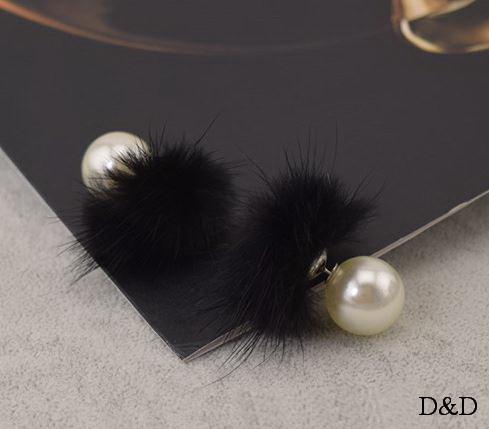 Серьги с мехом норки двухсторонние черные
