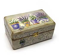 Шкатулка для украшений деревянная Лаванда