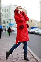 Пуховик - пальто зимнее женское с мехом енота 42-58