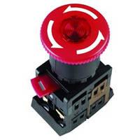 """Кнопка ANE-22 """"Грибок""""з фіксацією червоний d22мм неон/240В 1з+1р IEK"""