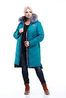Пуховик - пальто зимнее женское с мехом чернобурки 42-56 (58)