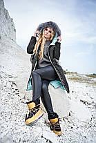 Пуховик - пальто модное зимнее женское с мехом чернобурки 42-56 (58), фото 3
