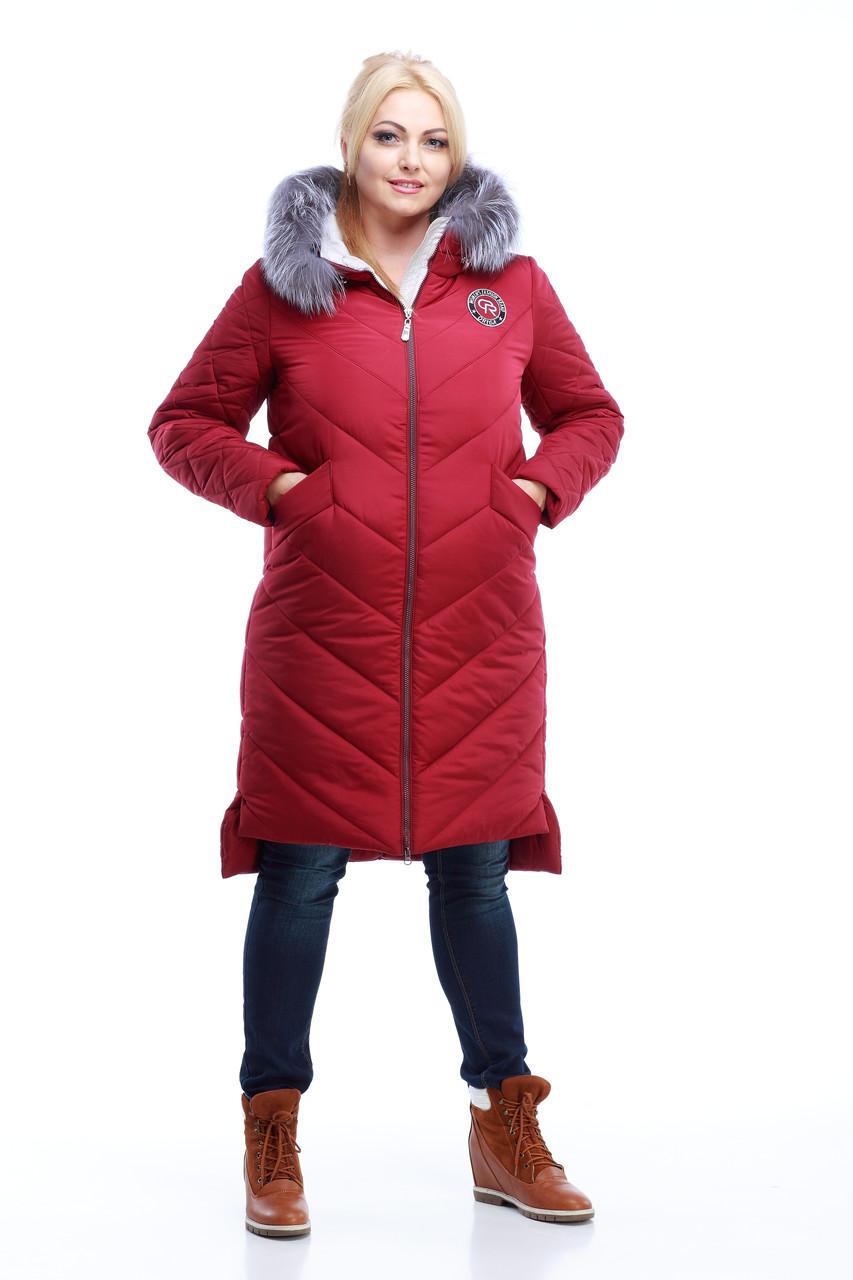 Пуховик - пальто модное зимнее женское с мехом чернобурки 42-56 (58)