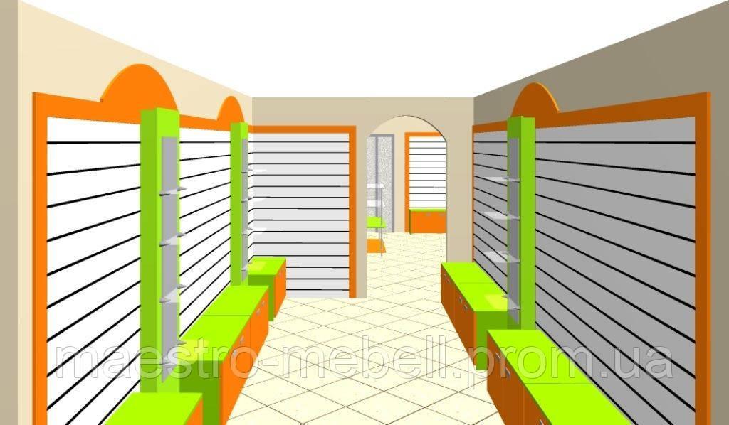 Торговое оборудование для магазина детской одежды Витрины торговые