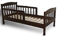 Кровать подростковая с бортиками Ассоль орех темный