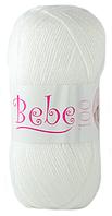 Турецкая акриловая детская пряжа для вязания Oxford Bebe. Белый