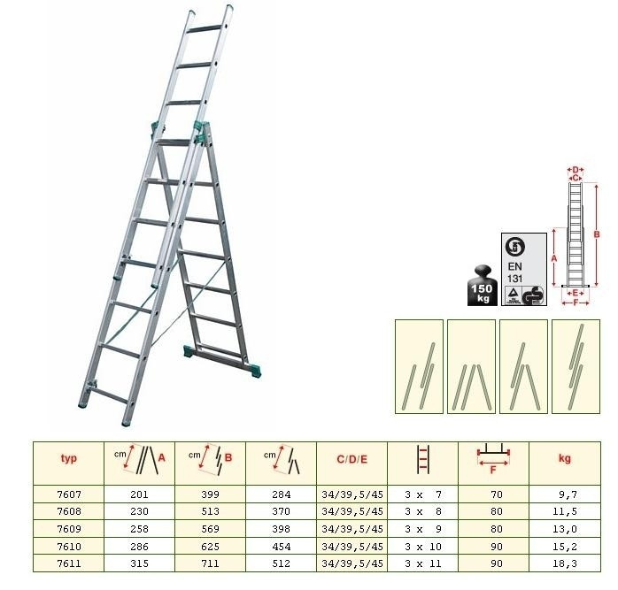 Лестница алюминиевая ALOSS 3x12 ступеней 7,96 м