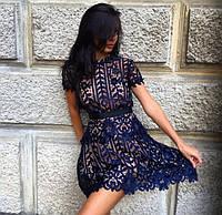 Платье женское короткое из гипюра с короткими рукавами P4591