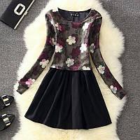 Платье-костюм женское шерстяное с длинными рукавами Бордовые Розы
