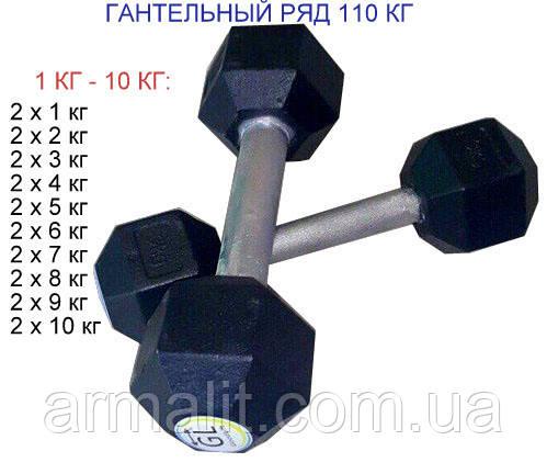 Гантельный ряд   АРМАЛІТ-2015 от 1 до 10 кг