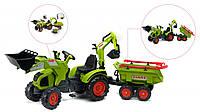 Трактор Педальный с прицепом и двумя ковшами Falk Claas Axos  зеленый