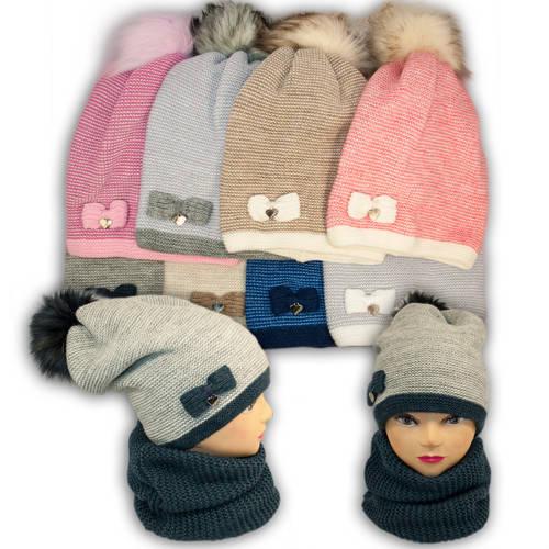Комплект шапка и шарф (хомут) для девочки, 960, Agbo (Польша), подкладка флис