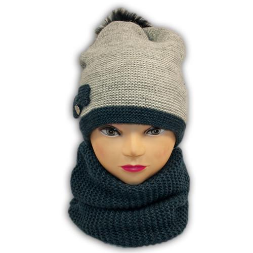 Комплект (шапка + шарф хомут) для девочки