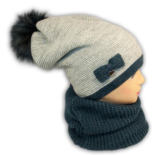 Комплект (шапка+шарф хомут) для девочки