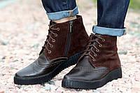Полуботинки женские кожаные комбинированные / Women's low ankle boots combined