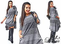 Стильное женское платье асимметричный низ, с карманами