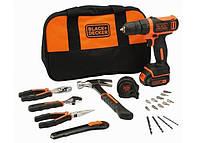 Дрель-шуруповерт Black&Decker + набор инструментов + сумка BDCDD12HTSA