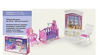 Мебель для кукол Детская комната: люлька, ребенок, качалка
