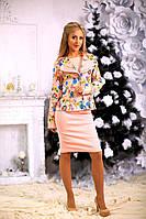 Костюм женский с принтом на пиджаке и однотонной юбочкой
