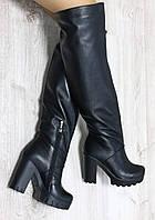 Зимние натуральные кожаные сапоги -ботфорты на удобном каблуке  цвет Черный