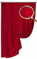 Софт (велюр), портьерная ткань для штор. Алый.
