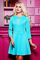 42,44,46,48,50 р Платье  Сурия бирюзовое нарядное красивое с гипюром осеннее короткое приталенное