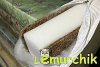 Матрас в детскую кроватку трехслойный толстый иней (кокос-поролон-кокос) 120х60х11 см