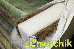 Матрас в детскую кроватку трехслойный толстый иней (кокос-поролон-кокос) 120х60х10 см