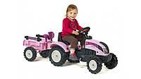 Трактор педальный с прицепом Princess Falk сиреневый