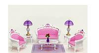 Мебель для кукол Гостинная комната: диван, кресла, столики