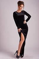 Изысканное вечернее женское платье в пол приталенного фасона с разрезом спереди и длинным рукавом бархат