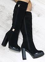Зимние натуральные замшевые сапоги с молнией по всей длине на удобном каблуке  цвет черный