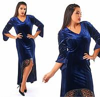 Красивое,модное,бархатное платье в пол большого размера с отделкой-эко кожа,синего цвета.