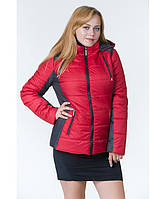 Демисезонная куртка женская (2-х цветная) красный графит, р.44-64