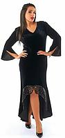 Красивое,модное,бархатное платье в пол большого размера с отделкой-эко кожа,черного цвета.