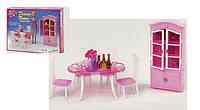 Мебель для кукол Столовая: стол, 4 стула, сервант, посуда