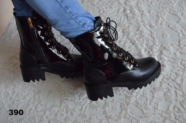 Зимние ботинки женские тракторная подошва