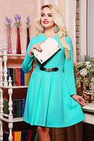 42,44,46,48,50 р Платье Валери бирюзовое женское красивое нарядное приталенное осеннее короткое повседневное