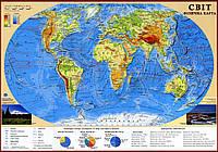 Настенная физическая карта мира (65х45 см; М1:55 000 000) - ламинированная