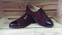 Туфли дерби женские кожаные / Women's Derby shoes leather, фото 1